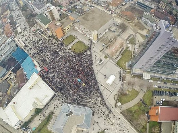 (Pamje e protestës nga lart